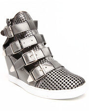 Fashion Lab - Dora Buckle Straps Faux Leather Sneaker Wedge