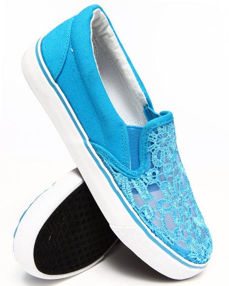 Fashion Lab - Women Teal Destry Lace Top Slip On Sneaker