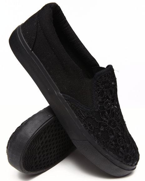 Fashion Lab - Women Black Destiny Lace Top Slip On Sneaker