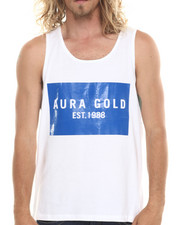 Aura Gold - Light Weight Jersey Tank Top w/ Blocked Logo