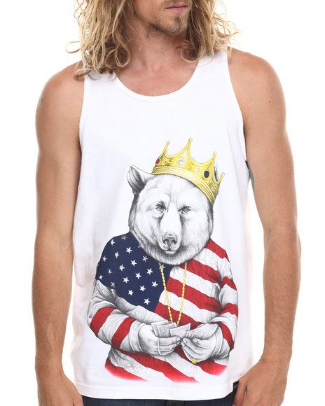Rook - Men White Biggie Bear Americana Tank