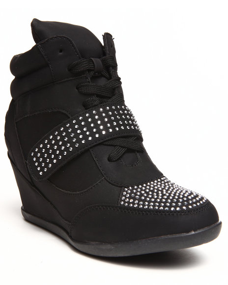 Fashion Lab - Women Black Kelda Stud Detail Sneaker Wedge