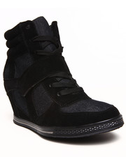 Fashion Lab - Michelle Nicolette Two Tone Denim Sneaker Wedge