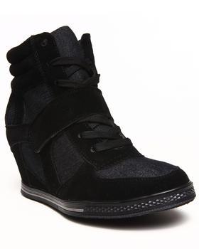 Fashion Lab - Michelle Nicolette Two Tone Denim Sneaker Wedge