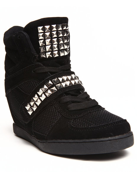 Fashion Lab - Women Black Freida Studded Strap Sneaker Wedge
