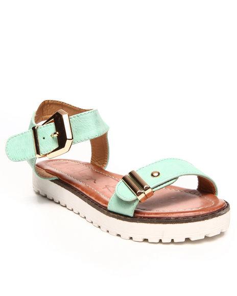 Fashion Lab - Women Green Buckle Strap Sandal