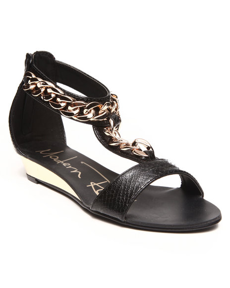 Fashion Lab - Women Black Gold Chain Ankle Strap Sandal