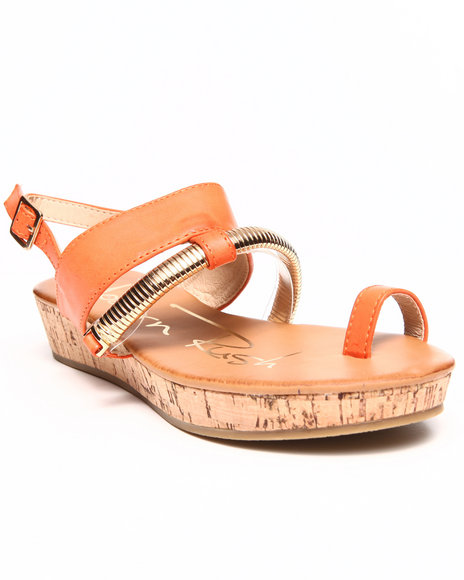 Fashion Lab - Women Orange Metal Detail Toe Strap Sandal