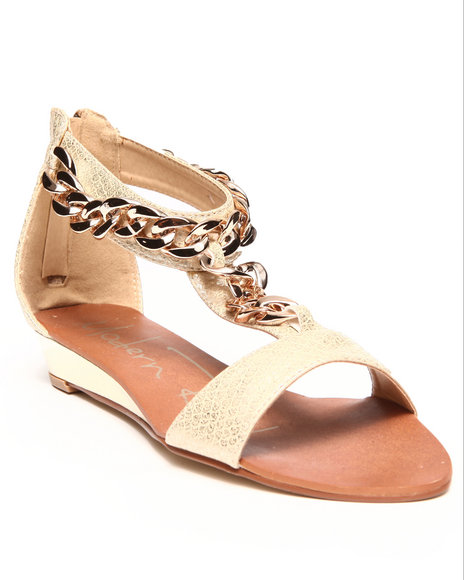Fashion Lab - Women Beige Gold Chain Ankle Strap Sandal