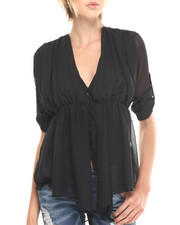 Tops - Mel Asymmetrical Draped Woven Top