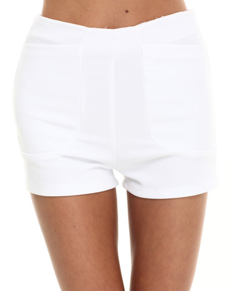 Fashion Lab - Women White Textured High Waisted Short - $7.99