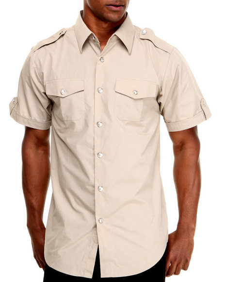 Basic Essentials - Men Khaki Short Sleeve Woven Shirt
