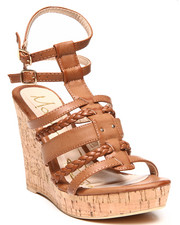 Women - Double Ankle Strap Cork Wedge