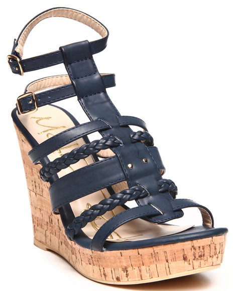 Fashion Lab - Women Navy Double Ankle Strap Cork Wedge