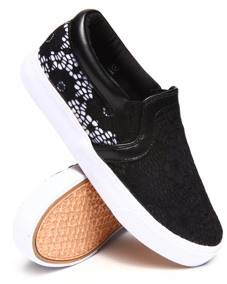 Modern Rebel - Women Black Lace Overlay Slip-On Sneaker