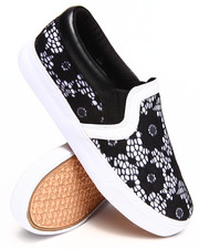 Sneakers - Lace Overlay Slip-on Sneaker
