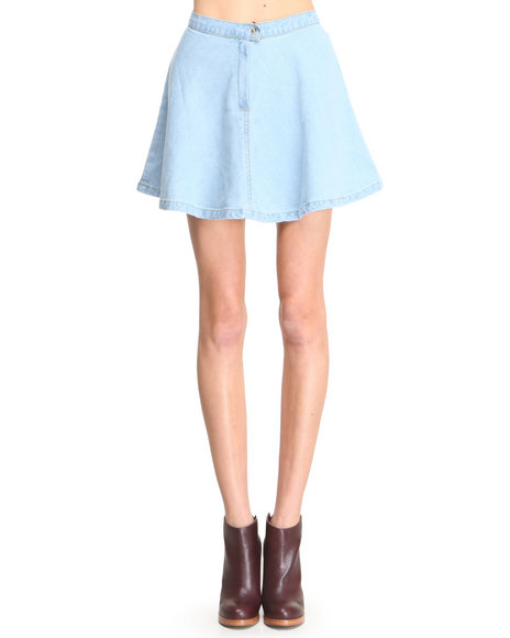 Glamorous - Women Light Wash Skater Skirt