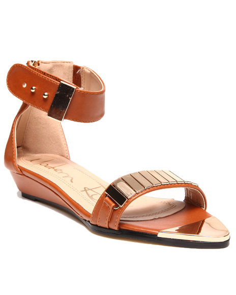 Fashion Lab - Women Tan Metal Detail Ankle Strap Sandal