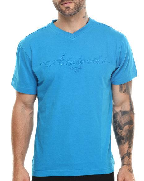 Akademiks - Men Blue Prep V-Neck Tee - $9.99