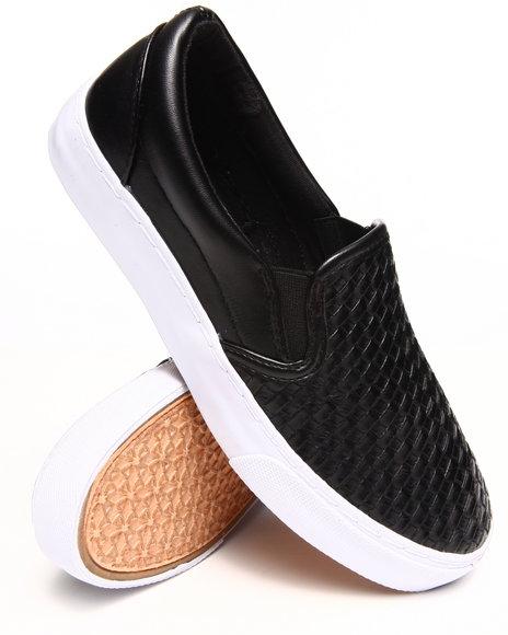Modern Rebel Black Vegan Leather Woven Slip-On Sneaker