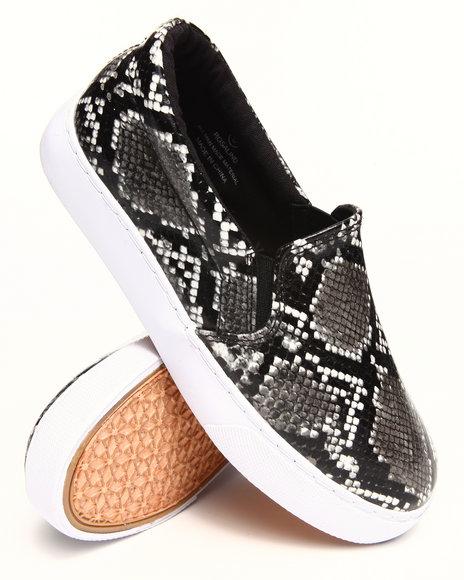 Modern Rebel Animal Print,Black Vegan Leather Snake Slip-On Sneaker