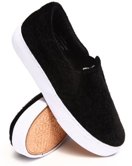 Modern Rebel - Women Black Faux Pony Slip-On Sneaker