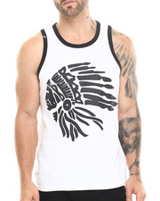 Men - CHIEF HEAD FAUX LEATHER DETAIL TANK TOP