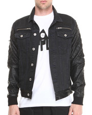 Black Apple - Bushwick Denim Jckt w/ PU Sleeve
