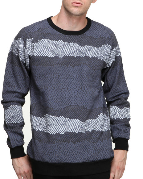 Blvck Scvle - Men  Rajah Printed French Terry Crewneck Sweatshirt - $54.99