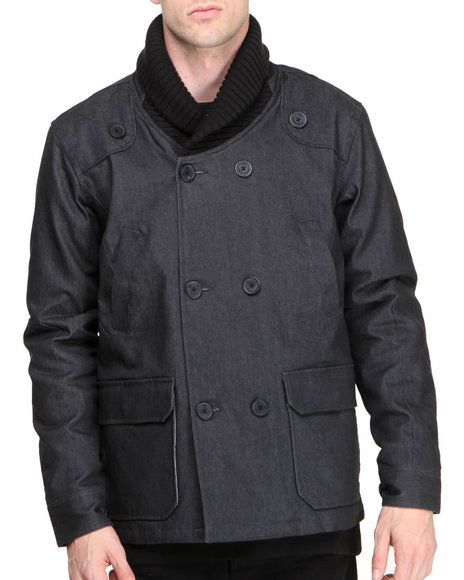 BLVCK SCVLE Shipwreck Waxed Denim Peacoat