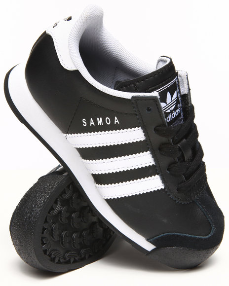Adidas - Boys Black Samoa Leather J Sneakers (11-3)