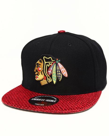 American Needle Men Chicago Blackhawks Hatch Strapback Hat Black - $17.99