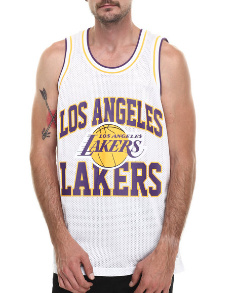 Mitchell & Ness - Men White Los Angeles Lakers Nba Drop Step Mesh Tank Top