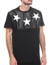 Men - Cut & Sewn Faux leather Croc Stars Tee
