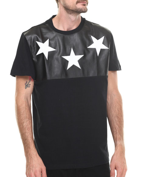 Buyers Picks - Men Black Cut & Sewn Faux Leather Croc Stars Tee