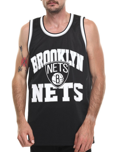 Mitchell & Ness - Men Black Brooklyn Nets Nba Drop Step Mesh Tank Top