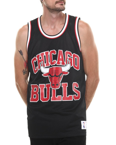 Mitchell & Ness - Men Black Chicago Bulls Nba Drop Step Mesh Tank Top