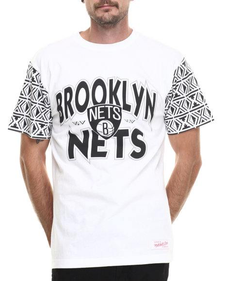 Mitchell & Ness - Men White Brooklyn Nets Nba Shot Blocker Tee