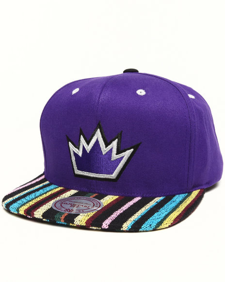 Mitchell & Ness - Sacramento Kings Native Stripe 2 Tone Canvas Snapback Hat