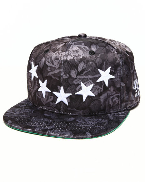 40 Oz Nyc Rose & Stars Snapback Hat Black