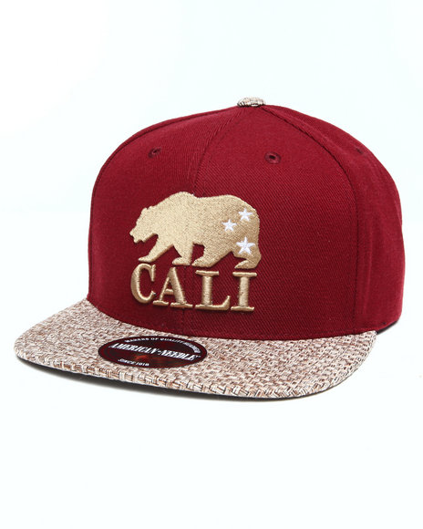 American Needle Men Cali Bear Hatch Strapback Hat Maroon