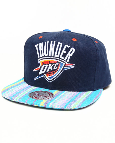 Mitchell & Ness - Oklahoma City Thunder Native Stripe 2 Tone Canvas Snapback Hat