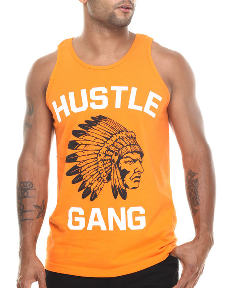 Hustle Gang - Men Orange The Game Tank