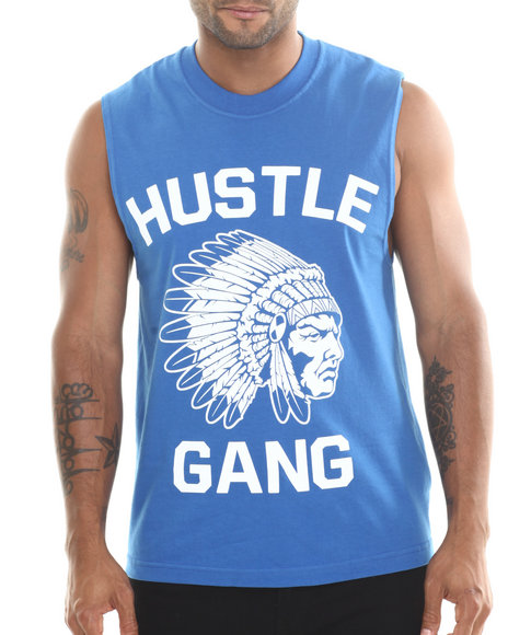 Hustle Gang Blue The Game Muscle Tee