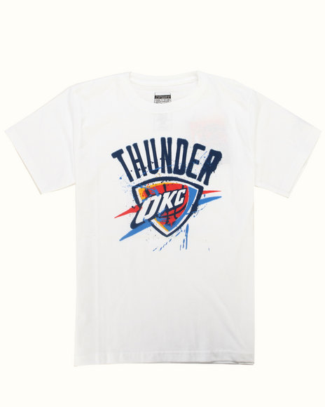 NBA MLB NFL Gear Boys White Okc Thunder Stencil Tee (8-20)