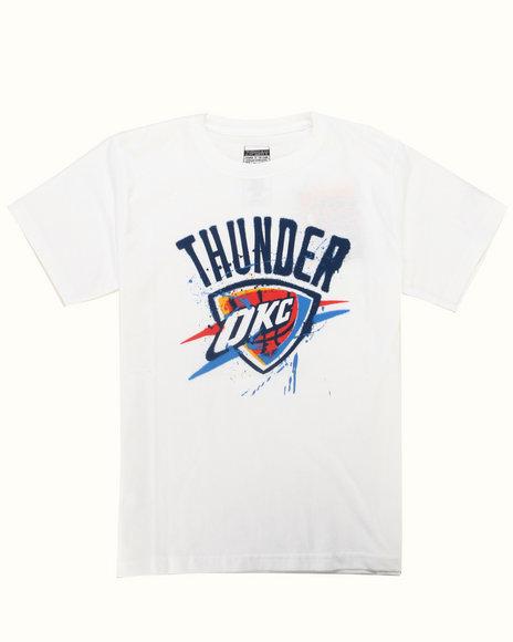 NBA MLB NFL Gear Boys White Okc Thunder Stencil Tee (8-20)