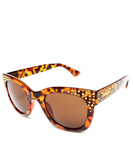 Xoxo Women Golden Eye Metal Trim Sunglasses Brown