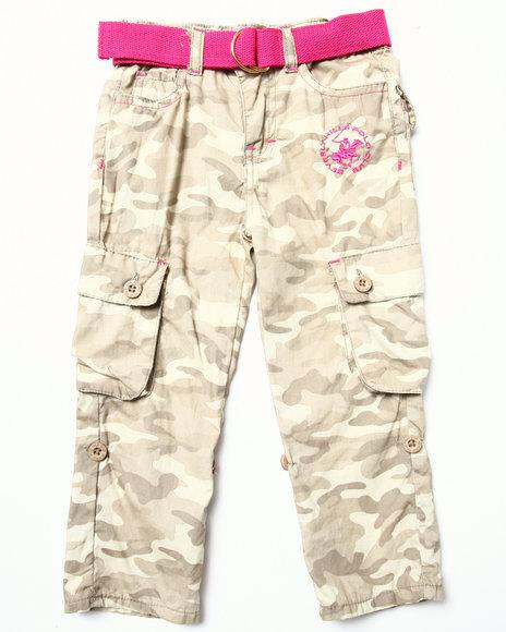 La Galleria - Girls Khaki Camo Cargo Pant (2T-4T)