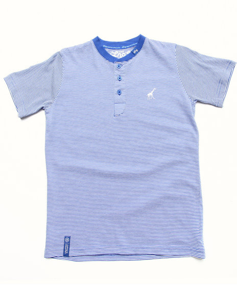 Lrg - Boys Blue Striped Henley Tee (8-20)