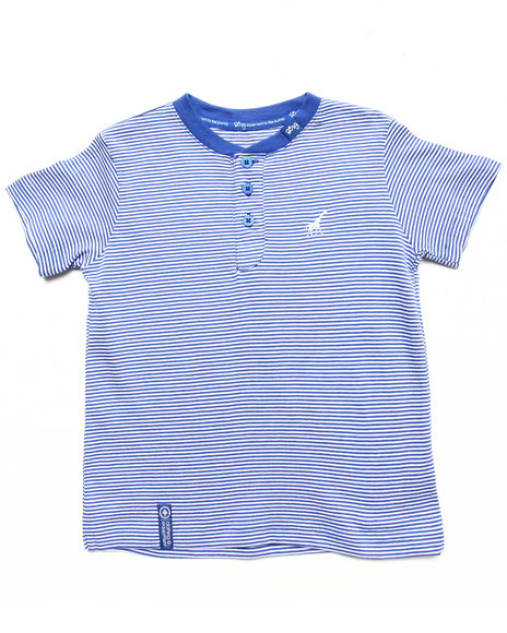 LRG Boys Blue Striped Henley Tee (2T-4T)